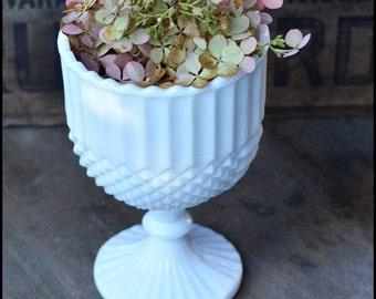 Vintage milk glass Pedestal Planter / Milk Glass Wedding Centerpiece / Milk Glass Hobnail / Candy Bar Buffet