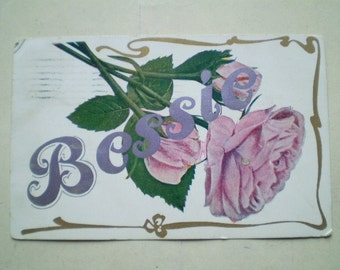 Bessie - Pink Roses - 1909 - Milwaukee, Wisconsin - Antique American Postcard