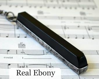 Piano Player Gift, Piano Jewelry, Real Ebony Piano Key, Long Necklace, Musical Jewelry, Music Gift, Music Teacher Gift, Ebony Key  (2295)