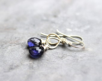 Petite Iolite Earrings Sterling Silver Teardrop Blue Briolette Gemstone Earrings