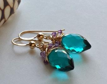 Teal Purple Drop Earrings, Teal Quartz Dangle, Wire Wrapped Amethyst Drops, Teal Gemstone Dangle, Purple Amethyst Dangle