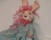Easter Rabbit bunny art doll primitive rabbit cloth art doll green and pink dress