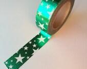 White Star Green Foil Washi Tape  Embellishment, Planner, Decorative, Scrapbooking
