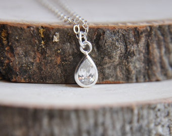 Small Teardrop Necklace, Silver Teardrop Necklace, Silver Crystal Teardrop Necklace, Crystal Teardrop Necklace, Bridesmaids Necklace