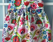 Girls dress, size 2, pink, red, blue flowers, two piece