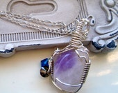 Amethyst Wired Pendant on a Sterling Silver Chain, Purple Necklace, Purple and Lavender Necklace