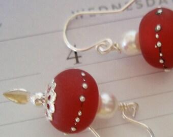 Red Saturn Earrings, Red Earrings, Sterling Silver Earrings, Silver Earrings, Pearl Earrings