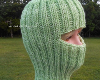 Light Green Balaclava, Ski Mask,  Full Face Coverage, Hikers, Exercise Outside, Mountain and Rock Climbers, Construction, Builders