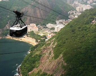 Rio de Janiero Photography - Brazil Travel Print - Sugar Loaf Cable Car Photo - Brazilian Wall Art - Mountain Sea Landscape - Travel Photo