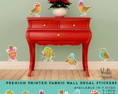 Reusable Christmas Wall Decal Winter Birds printed fabric decal stickers - Holiday Decor - set of 6 birds