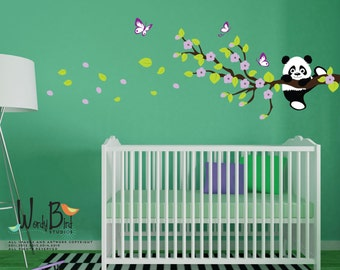 Cherry Blossom Wall Decal, Panda Wall Decal, Panda Bear, reusable kids wall decals, nursery mural