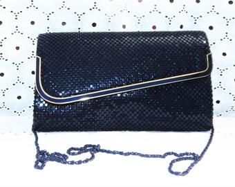 80s Vintage Metal Mesh Purse Navy Blue Formal purse Clutch