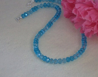Necklace Of Aqua & Sky Blue Crystal Rondelles    FREE SHIPPING