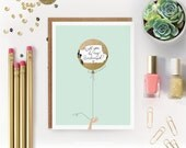 "Scratch-off ""Will You Be My Bridesmaid? / Maid of Honor?""  Write-in Invitation // Mint with Gold Foil Balloon"
