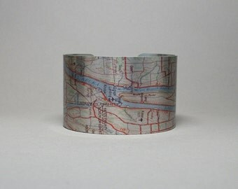 Keuka Lake Map Cuff Bracelet Upstate New York Unique Vacation Traveler Hostess Gift for Men or Women