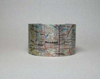 Boulder Colorado Map Cuff Bracelet Unique Hometown City Gift for Men or Women