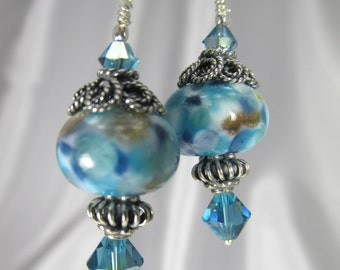 Blue Turquoise Lampwork Glass Earrings with Bali Sterling Silver findings and fine sterling silver leverback earring wires