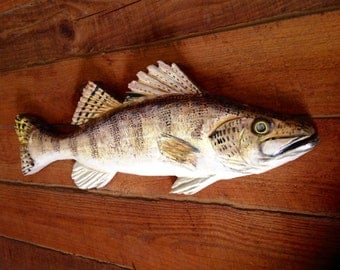"""Walleye 32"""" Man Cave art wooden chainsaw lake fish carving rustic home accent wall mount indoor outdoor angler fishing  decor"""