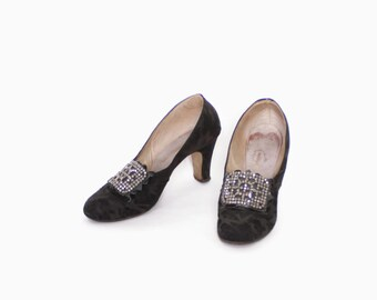 Vintage 30s HEELS / 1920s - 30s Silk Brocade Pumps with Cut Steel Buckles 7