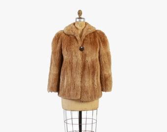 Vintage 40s Fur COAT / 1940s Golden Brown Sheared BEAVER Fur Jacket S - M