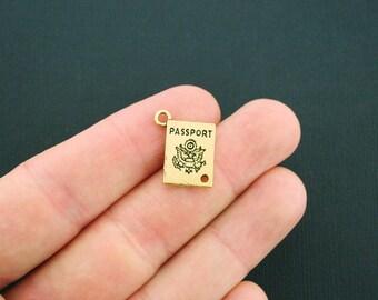 10 Passport Charms Antique Gold Tone - GC809