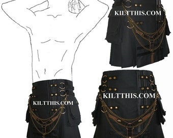Interchangeable Black Brown Canvas Cargo Utility Kilt Y Design Custom Fit Adjustable Many Options