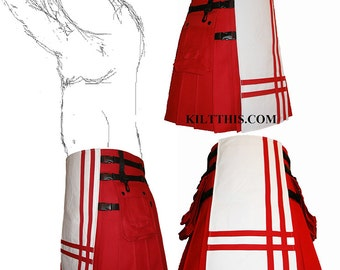 Interchangeable Red White 10oz Canvas Hiker Utility Kilt Red Double Cross Design Adjustable Custom Fit with Large Expanding Cargo Pockets