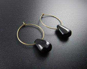 Tribal Statement Earrings , Bronze Earrings , Hoop Earrings , Tribal Earrings , Boho Earrings , Black Spinel Earrings
