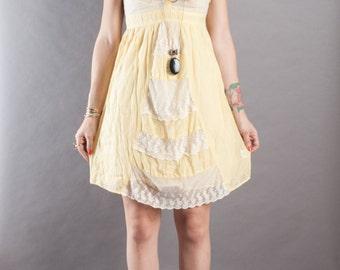 Buttercream Yellow Lace and Poplin Dress