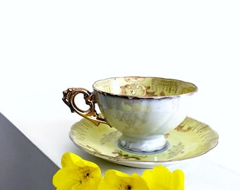 Buttery Yellow Lusterware Tea Cup And Saucer Vintage Teacup Made In Japan Gold Gilt Decorated Fancy Tea Party Set Shabby Chic Home Decor