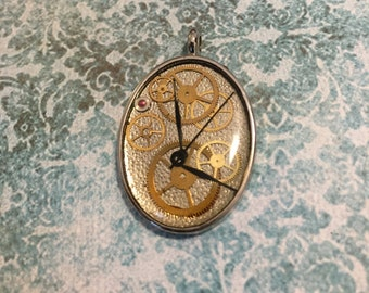 Steampunk Hands of Time Pendant