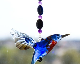 Glass Bluebird with Amethyst and Sodalite Beading - Great Christmas and Birthday Gift