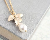 Gold Orchid Necklace, Flower with Pearl Drop, Bridesmaids Necklace, Wedding Jewelry, Gold and Ivory Cream Pearl Pendant Layering necklace