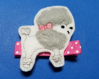 """Poodle Feltie Hair Clip Clippie - """"Penny the Poodle"""" - For Infant Toddler Girl"""