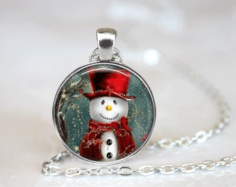 Christmas Necklace Christmas Jewelry Glass Tile Necklace Snowman Jewelry Snowman Earrings Glass Tile Jewelry Silver Jewelry Black Jewelry