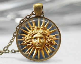 Glass Tile Necklace Sun Necklace Sun God JewelryGlass Tile Jewelry Sun God Necklace Celestial Jewelry Sun Jewelry Celestial Necklace