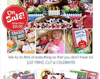 Farm Birthday Party |  Farm Party Decorations | Farm Party Printable | Barnyard Birthday | 1st Birthday | Tractor | Amanda's Parties To Go