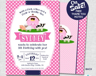 Farm Party Invitation | Girl Farm Birthday Invitation | Pink Farm Party Invite | Barnyard Birthday | 1st Birthday Invite | Amanda's Parties