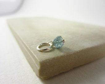 Tiny Charm Solo - Rare Blue Tourmaline Charm - Paraiba Tourmaline Jewelry - Sterling Silver Charms - 14k Gold Charms - Healing Crystal