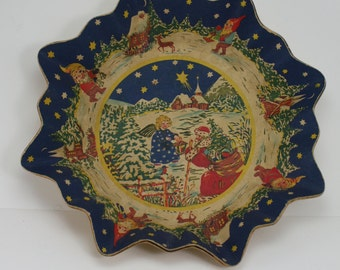 Vintage German Paper Serving Cookie Tray Platter Fluted Edge Santa Elves Angel Christmas Holiday Decor Tableware Cookies For Santa Tray