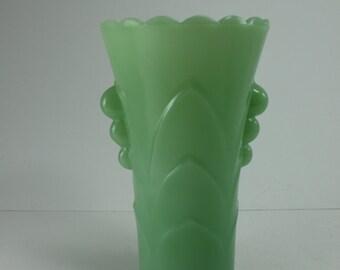 Vintage Jadeite Vase Mint Green Art Deco Embossed Tab Handle