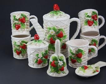 Vintage Strawberry Coffee Tea Kitchen Set Ceramic Strawberry Mugs Cups Coffee Pot Creamer Sugar Bell Spoon Rest Basket Weave Made In Japan