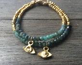 Emerald Protective Eye Bracelet    Evil Eye    Gemstone Bracelet