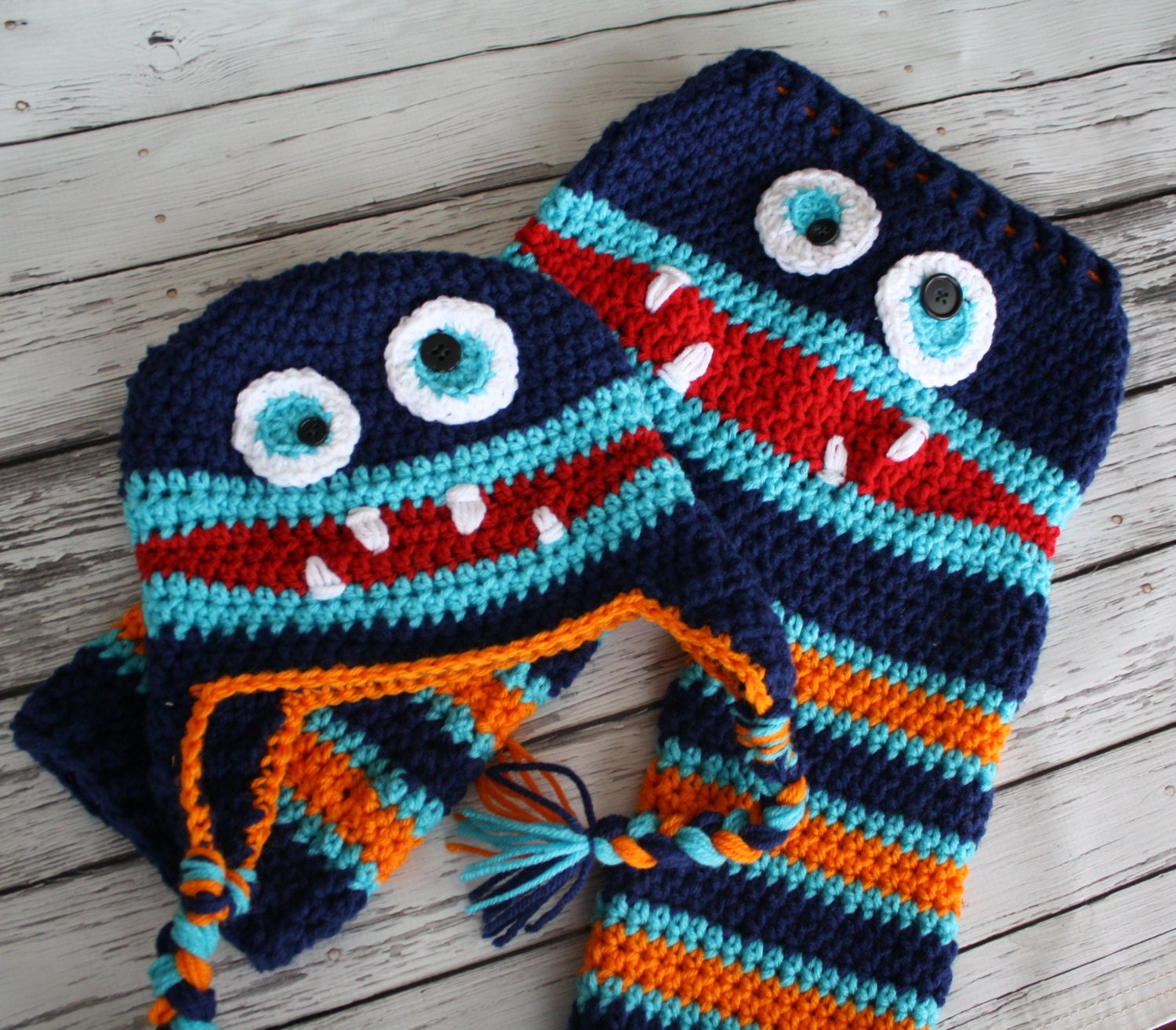Crochet Pattern Baby Monster Pants : Crochet Striped Monster Baby Pants and Hat Set Baby Monster