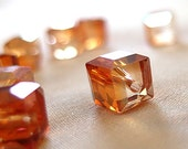 10mm Half Orange Faceted Crystal Cube Beads, 10mm x 10mm, 12 beads