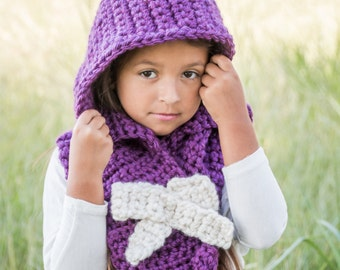 Hooded cowl, Hooded cowl with bow, hooded scarf, kids hat and cowl, Gift for her, Infinity scarf, chunky scarf, kids hoodie, womens hoodie