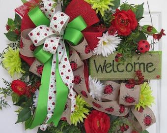 Welcome Wreath, Spring Wreath, Summer Wreath, Ladybug Wreath, Red White Green, Front Door Wreath, XL Wreath, Grapevine Wreath