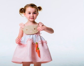 Girl's Easter Bunny Dress, Pink Bunny Dress, Handmade Gingham Girl's Sundress