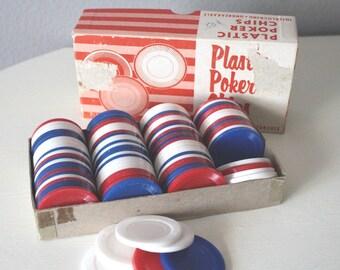 60's Retro Poker Chips, Red, White, & Blue Plastic