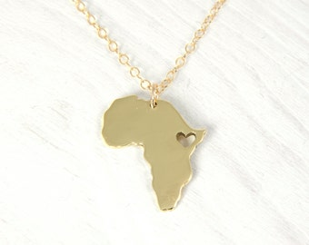18kt Gold Plated Nu Gold Africa Map Pendant  Heart africa Ethiopia pendant - Adoption necklace  Ethiopia Ciondolo africa heart necklace